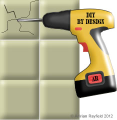 Graphic of drill drilling into tiles