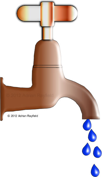Drawing of dripping tap