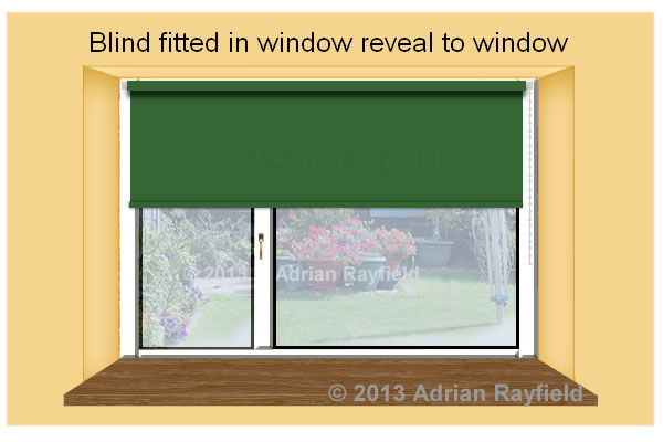roller blind fitted in a window reveal