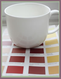 colour charts with tea cup